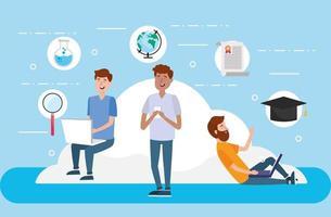 mannen met laptop en smartphone om certificaat te studeren vector