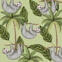 luiaard met tropische palm en bladerenachtergrond
