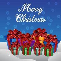 Kerstmis geschenkdozen met blauwe achtergrond.