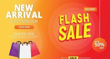 flash Sale sjabloon voor spandoek met boodschappentassen vector