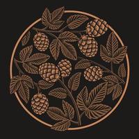 Vintage rond hoppatroon, ontwerp voor bierthema
