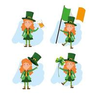 set van St. Patrick's Day vrouw kabouter met bier en klaver