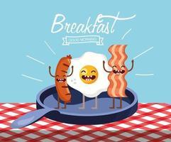 gelukkig gebakken ei met worstjes en spek in de pan vector