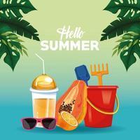 Hallo zomer poster kaart tekenfilms vector
