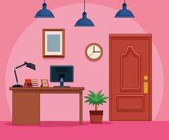 Zakelijke kantoor werkplek vector