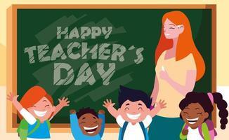 gelukkige dag kaart met vrouwelijke leraar en studenten