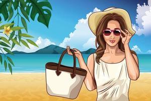 Popart mode en mooie vrouw cartoon vector