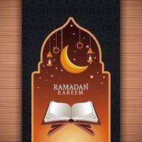 ramadan kareem met afnemende maan en islamitische kunst vector