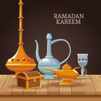 ramadan kareem met islamitische symbolen vector