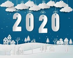 Gelukkig nieuw jaar 2020 met sneeuw vector