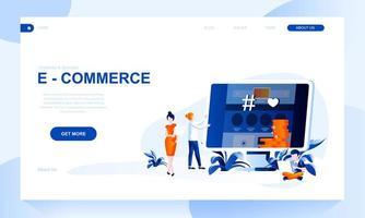 E-commerce vector bestemmingspagina sjabloon met koptekst