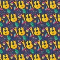 gitaar met trompet en maracas met verenachtergrond vector