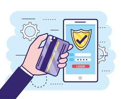 hand met creditcard en smartphone met financiënwachtwoord vector
