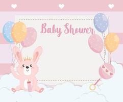 kaart van schattige konijn dier met ballonnen