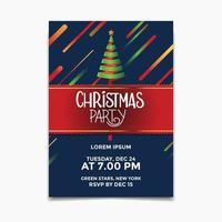 Kerstfeest poster en flyer ontwerpconcept met kerstboom lint vector