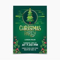 Kerstfeest poster en flyer ontwerpconcept met kerstboom achtergrond vector