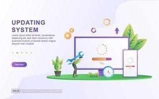 Systeemillustratieconcept bijwerken. vector
