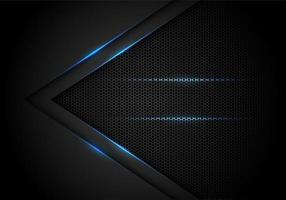 Abstracte blauwe lichtpijl op zwart met zeshoekig ontwerp vector