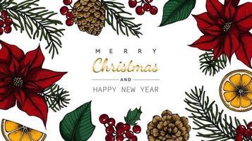 Vrolijk Kerstmis en Nieuwjaar bloem en blad tekening vector