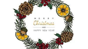 Vrolijk Kerstmis en Nieuwjaar bloem en blad krans tekening vector