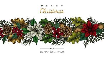 Vrolijke Kerstmis en Nieuwjaar grens met bloem en blad tekeningen vector