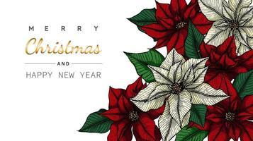 Vrolijk Kerstmis en Nieuwjaar poinsettia hoekframe vector