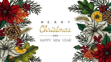 Vrolijk Kerstmis en Nieuwjaar bloem en blad frame tekening vector