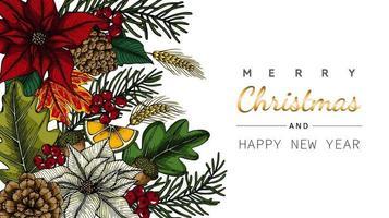 Vrolijk Kerstmis en Nieuwjaar bloem en blad in hoektekening vector