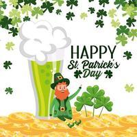 St Patrick man met hoed met gouden munten en klavers