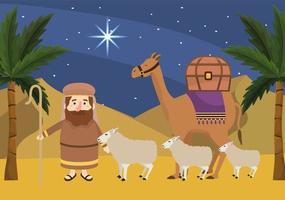 Joseph met schapen en kamelen met palmbomen vector