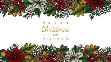 Vrolijk Kerstmis en Nieuwjaar achtergronden bloem en blad frame vector