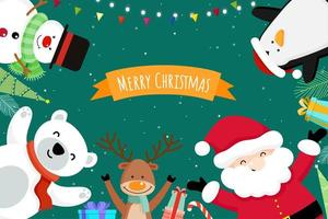 Christmas wenskaart met Santa Claus en vrienden