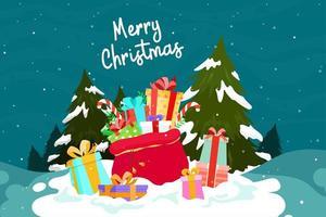 Een stapel geschenkdozen en scènes om Kerstmis te vieren