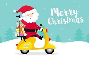 Christmas wenskaart met Santa Claus op Scooter