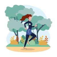 vrouw oefenen lopende oefening in het landschap