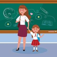 moeder met haar studente met rugzak en schoolbord