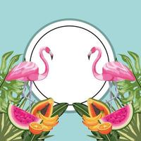 cirkelsticker met flamingo en tropisch fruit