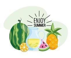 watermeloen met limonade en tropische ananasvruchten vector