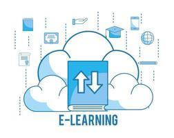load cloud met afstuderen cap en onderwijs boek