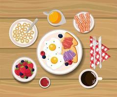 gebakken eieren met gesneden brood en ontbijtgranen