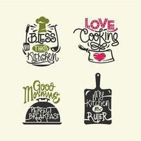 Set van koken citaten label, typografie en belettering vector