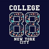 varsity college badge met bloemmotief
