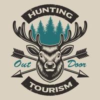 T-shirtontwerp met een hert op de witte achtergrond. vector