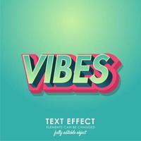 Vibes gedetailleerd teksteffect met modern 3d ontwerp vector