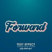voorwaartse brief premium teksteffect met 3D-ontwerp en mooi blauw thema vector