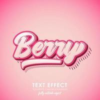bessen letter premium tekst effect met roze thema en 3d ontwerp en patroon vector