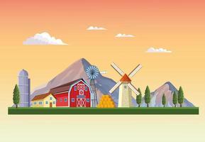 Boerderij met schuur landschap