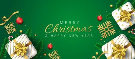 Groene koptekst of banner voor Kerstmis en Nieuwjaar vector