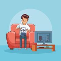 Tiener met videogame cartoon