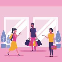 Mensen in winkelcentrum vector